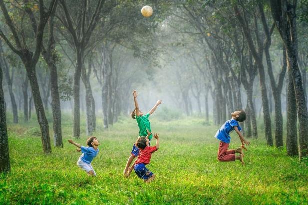 healthy children playing